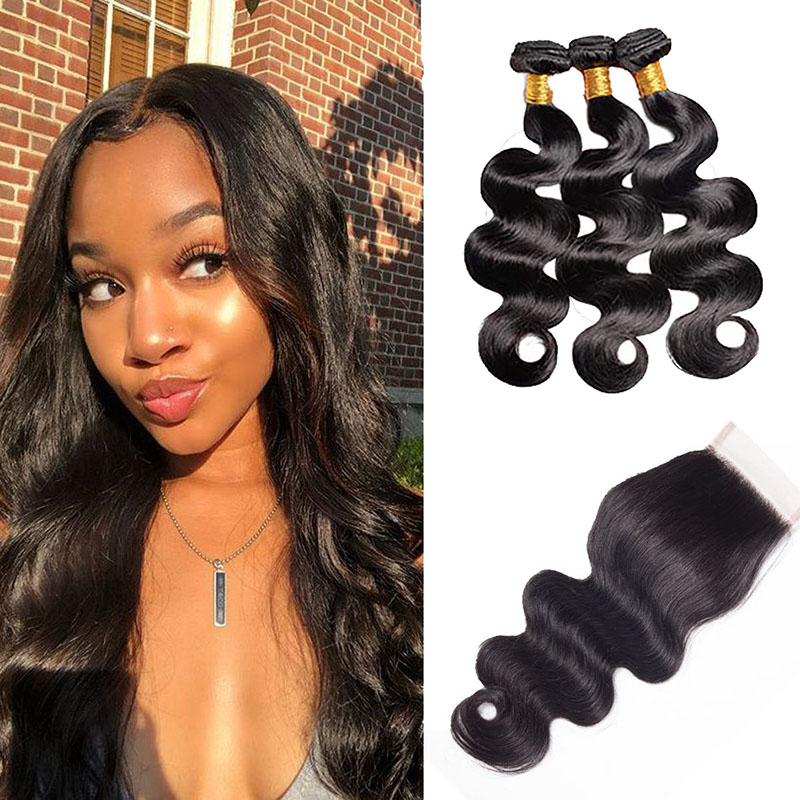 3 Bundles Body Wave Weave Hair With 4x4 Lace Closure