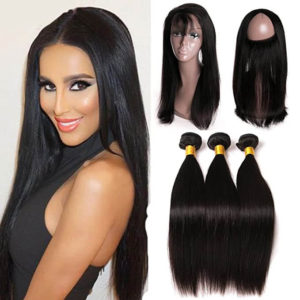 3 Bundles Brazilian Virgin Human Hair Straight Weave Hair With 360 Lace Frontal