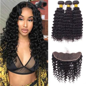 3 Bundles Deep Wave Weave Hair With 13x4 Lace Frontal