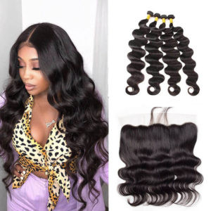4 Bundles Body Wave Weave Hair With 13x4 Lace Closure