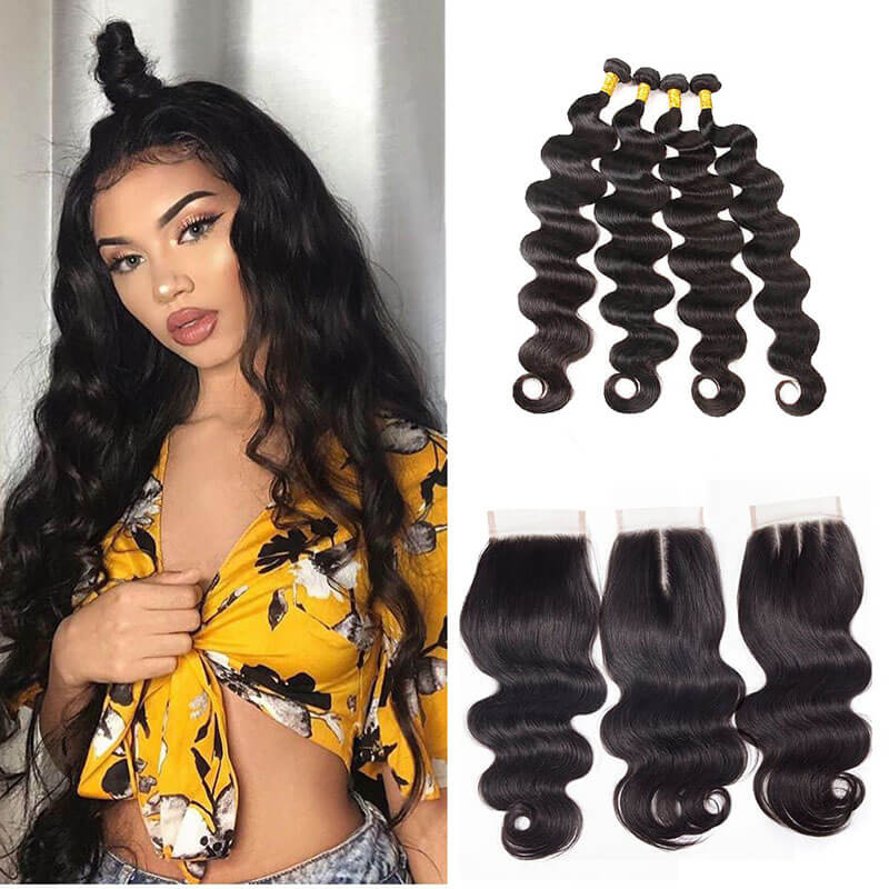 4 Bundles Body Wave Weave Hair With 4x4 Lace Closure