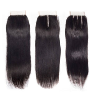 4x4 Free Part Middle Part Three Part Brazilian Straight Human Hair Lace Closure