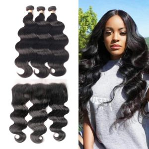 body wave human hair bundles with frontal-3