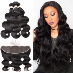 body wave human hair bundles with frontal-4