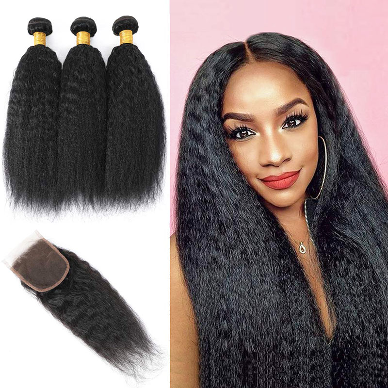 3 Bundles Kinky Straight Weave Hair With 4x4 Lace Closure