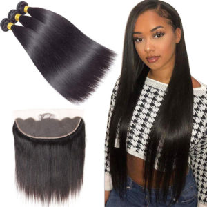 straight human hair bundles with frontal-2