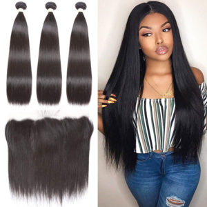 straight human hair bundles with frontal-4