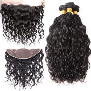 water wave human hair bundles with frontal-1