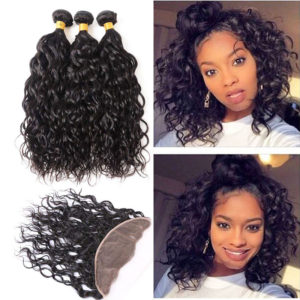 water wave human hair bundles with frontal-3